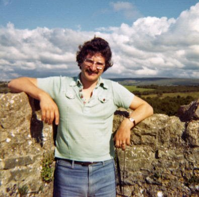 At the top of Yeats's tower at Ballylee on the borders of County Clare and County Galway. Taken around 1977 on a day when there was a break in the clouds. The view of the surrounding countryside today is much as it was in the 1920s when Yeats lived here.