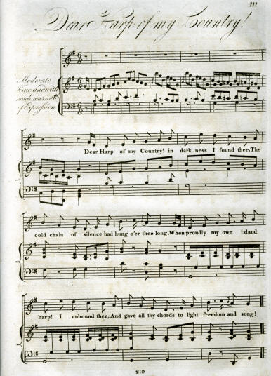 The first stanza of Tom Moore's poignant song about the Irish dark. This image is taken from the sixth number of A Selection of Irish Melodies with Symphonies and Accompaniments by Sir John Stevenson (1815).