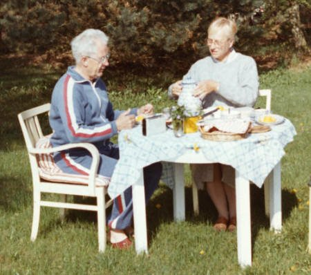 Horst and Barbara Höhne having breakfast in the garden of their second home in the country outside Rostock. Horst's first conference I attended was held on the Baltic coast in Ahrenshoop in October 1984. It was entitled 'Challenge of the Century: Third Symposium on Twentieth-Century English and American Poetry in its International Perspective', and among those who attended were Angus Calder and Michael S. Harper. I gave a talk on 'The Social Eye/I: A Critical Engagement with Recent English Poetry'.