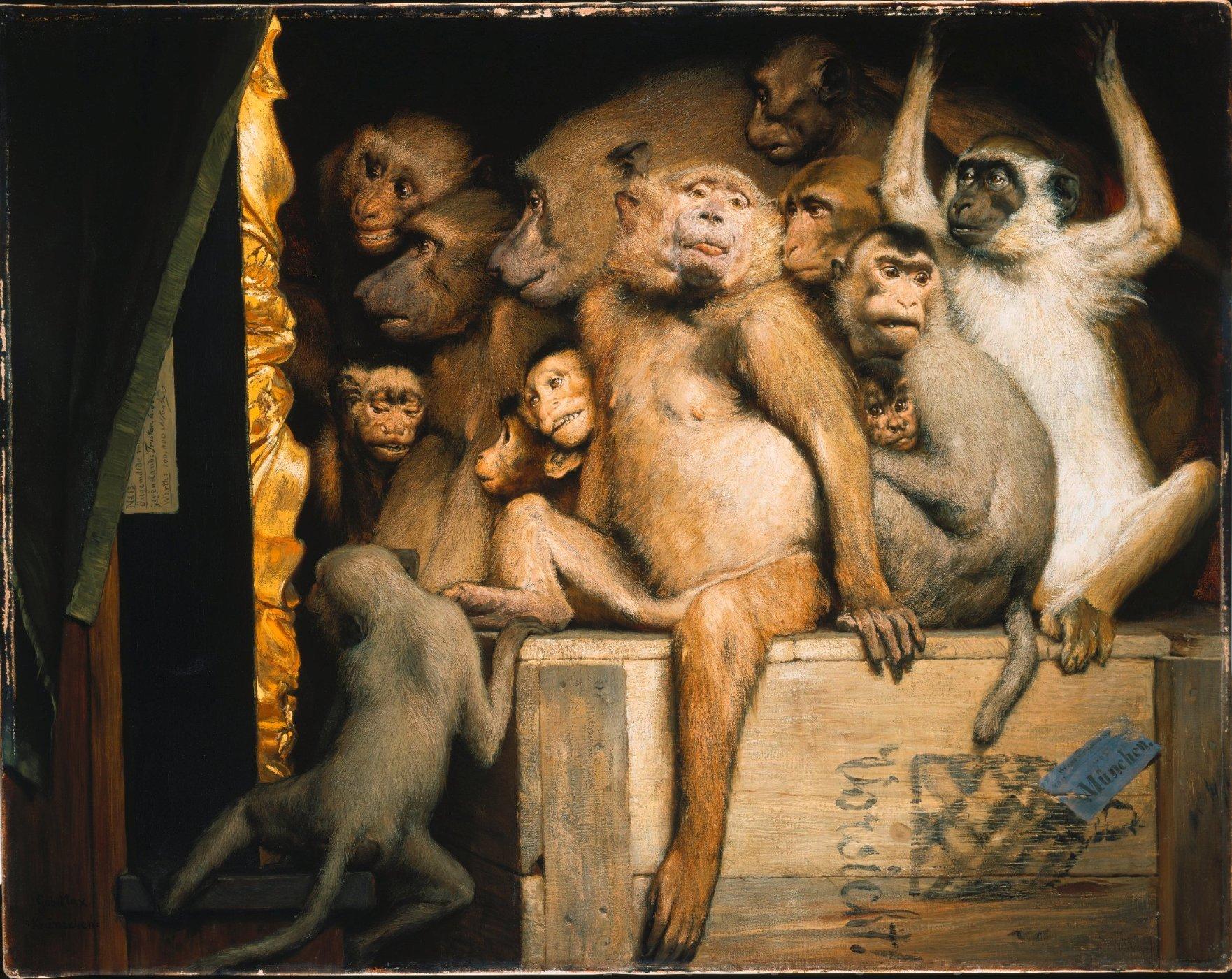 """""""Monkeys as Judges of Art"""" (1889) Max, Gabriel von,1840-1915  München, Neue Pinakothek © Bayer & Mitko – ARTOTHEK"""